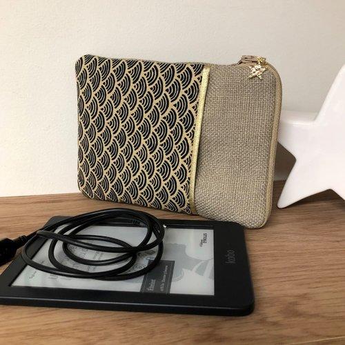Pochette kobo en lin et tissu japonais / housse liseuse numérique sur mesure / etui zippé kindle personnalisable