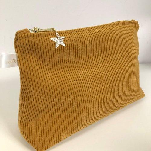 Pochette en velours grosses côtes jaune moutarde / trousse rangement cosmétiques / personnalisable