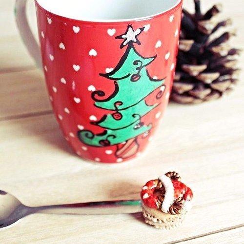 Tasse Mug Dessin Façon Mickeycuillère Donutsfimo Macaron Noelvaisselle De Fetescreations Fimo Noel