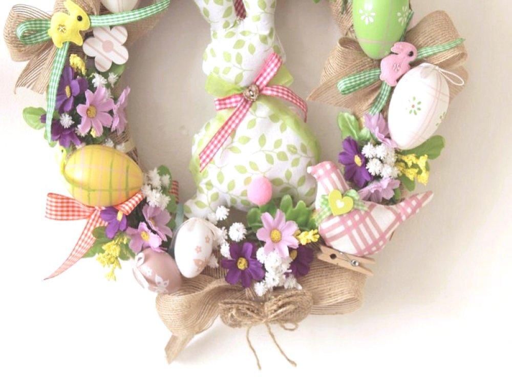 couronne de Pâques,décoration lapin de Pâques,artisanat fait main,déco printemps,pas cher