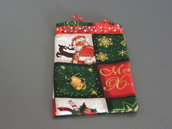 pochette cadeaux spécial Noël, motifs Noël, avec ruban d'organza 2