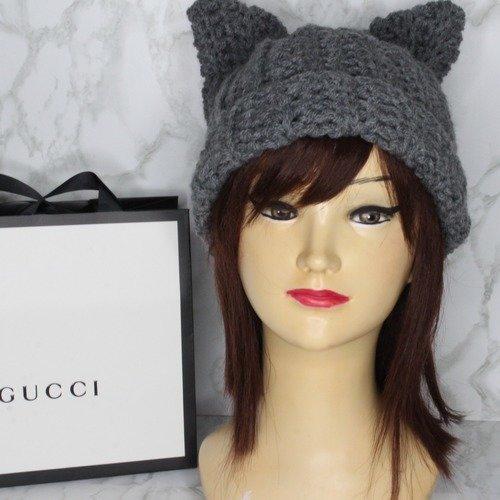 Gris pussy hat-bonnet laine-chapeau chat-grey-chapeau pussy cat-chapeau animal-chapeau hiver-chapeau gris hiver-bonnet de chat-cadeau femme-