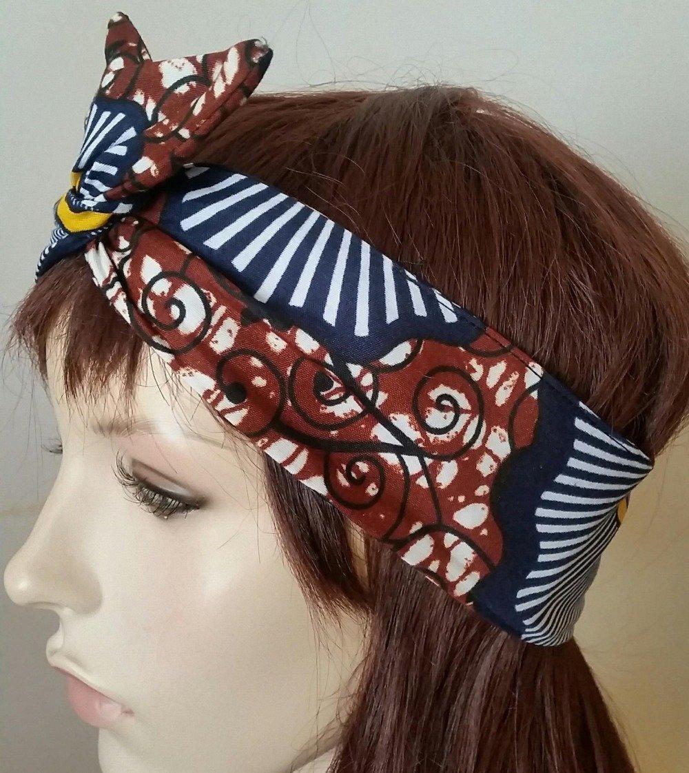 Bandeau modulable-Headband -Serre-tête-Haarband -Tulband-Hoofband-Turban modulable-Verstelbare hoofdband- style vintage en wax rétro chic