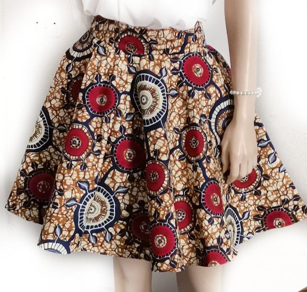 Jupe patineuse wax-Corolle-Evasée-cercle-Wax skirt-Wax circle skirt-Skirt sun wax-Handmade-