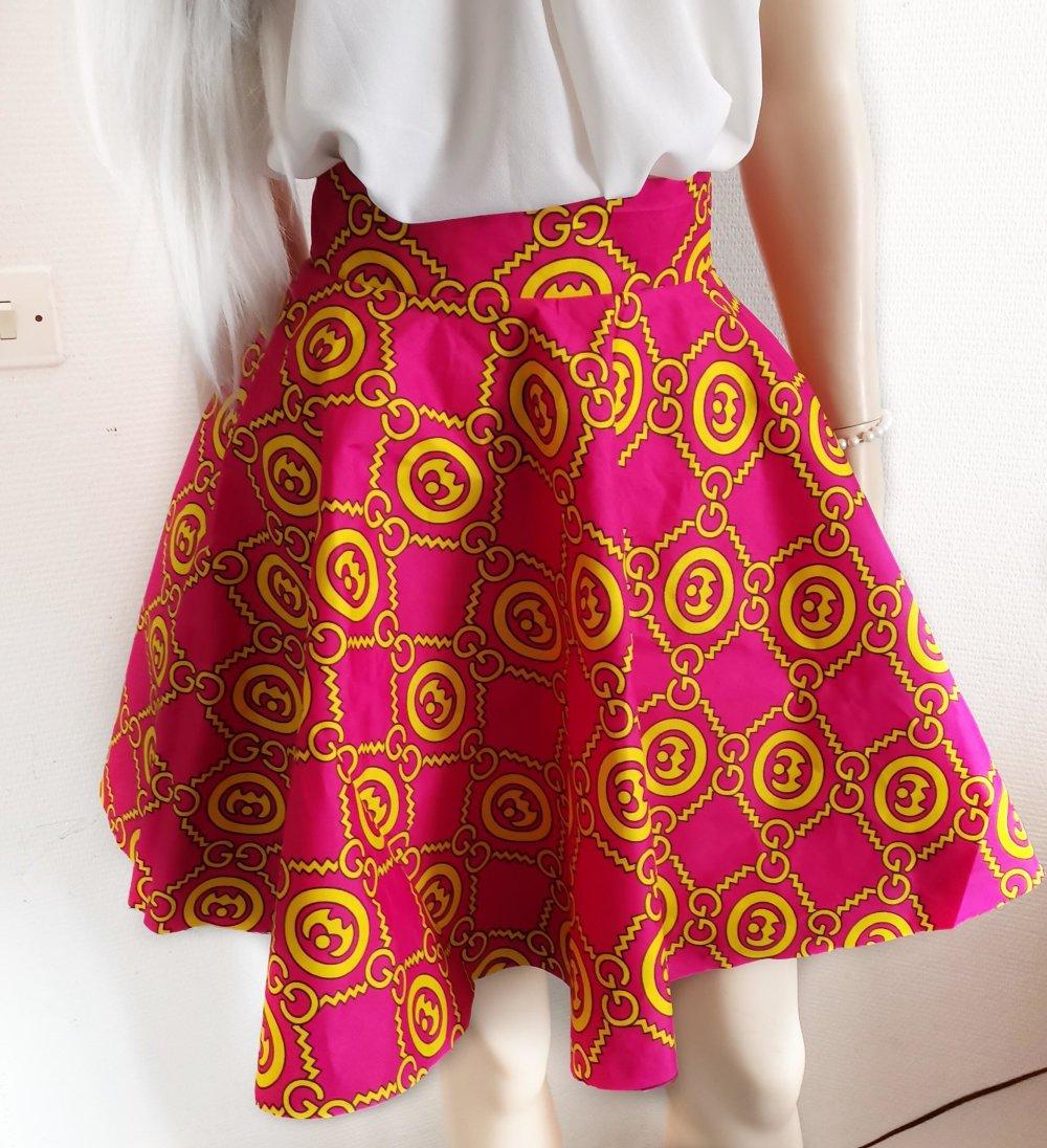 Jupe patineuse-Corolle-Evasée-cercle-circle skirt-Skirt sun-Handmade-