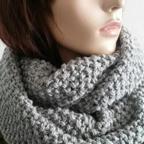 Echarpe tube-snood gris-tour de cou-echarpe capuche-grey scarf-unisex scarves-knit scarves-scarf-accessoiries