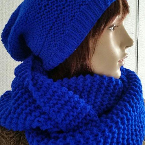 Ensemble écharpe tube bonnet-tube scarf set-wool scarv-snood 2 turns- color hat-set choker bonnet-winter accessoiries