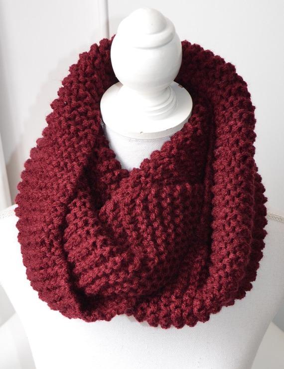 Echarpe tube-Snood en laine-Bordeaux Scarf-Unisex scarves-Knit-scarves-scarf-Winter accessories-collar size-cache cou