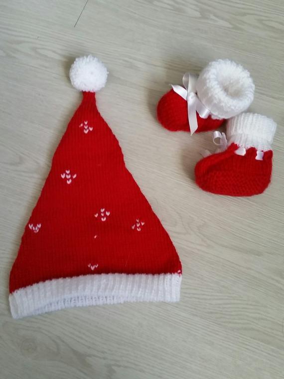 Bonnet et bottines Père Noël rouge et blanc