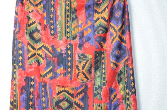 Jupe droite courte aztèque taille élastique