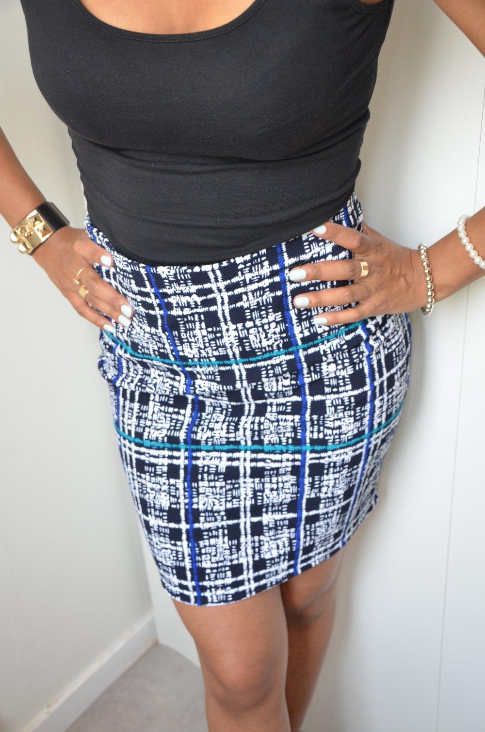 Jupe droite- Crayon motif graphique-Taille haute-High waist skirt
