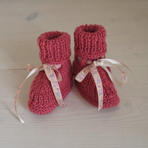 Chaussons bébé tricotés main 0-3 mois