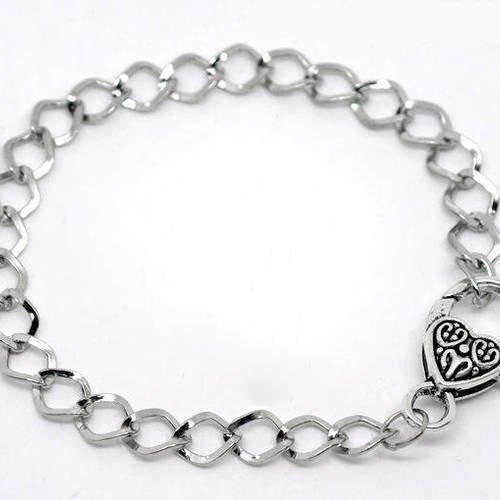 60 Bracelets Fermoir Mousqueton Couleur argenté 20cm