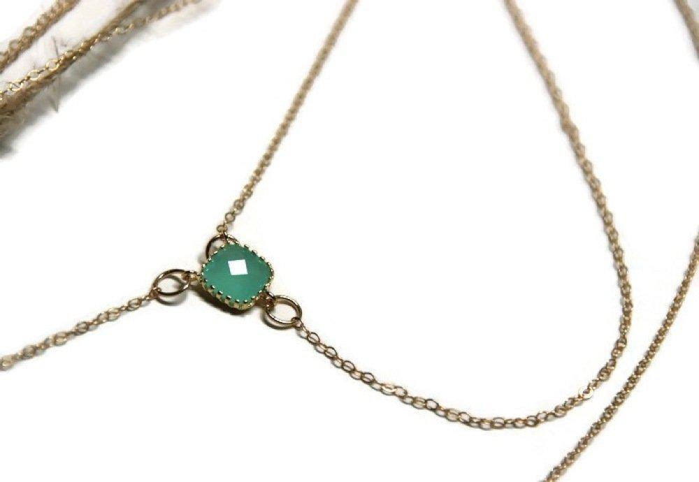 Bijou de dos en or 14K et cristal turquoise - bijou de cérémonie / bijou de mariage