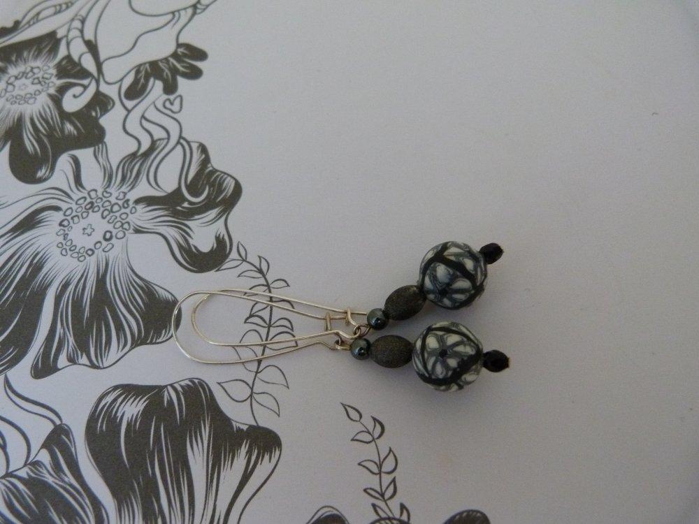 Boucles d'oreilles impression graphite