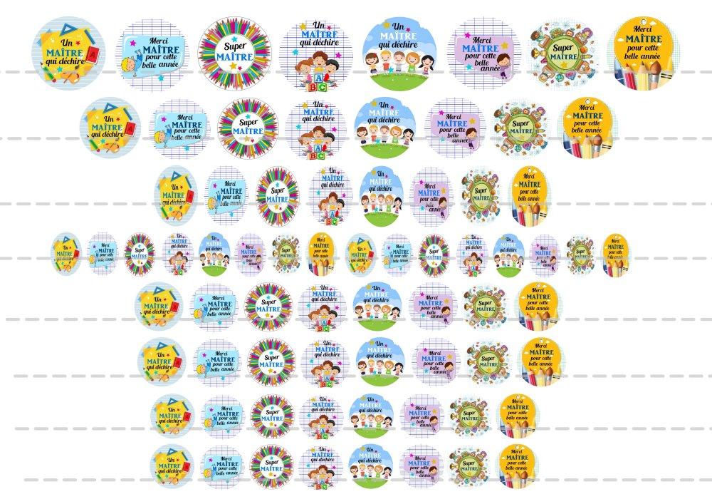 Images digitales pour cabochons à imprimer thème: maître 5