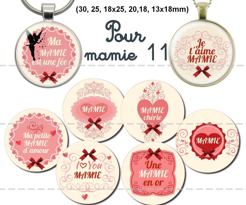 Images digitales pour cabochons à imprimer thème: mamie 11