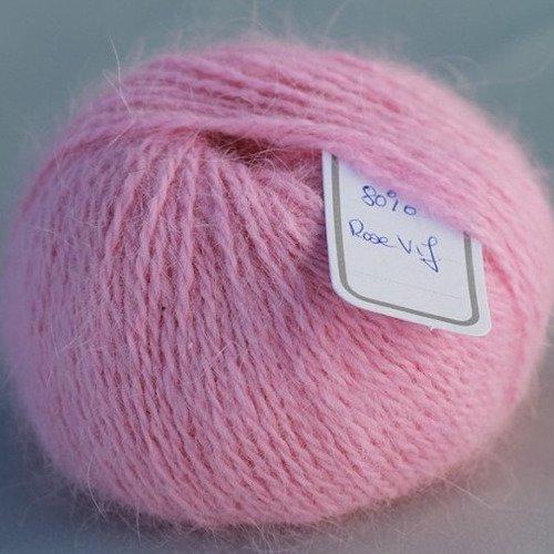 1 pelote angora 80 % angora-tradition coloris rose vif