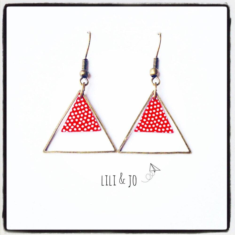 Boucles d'oreille triangles rouges à pois
