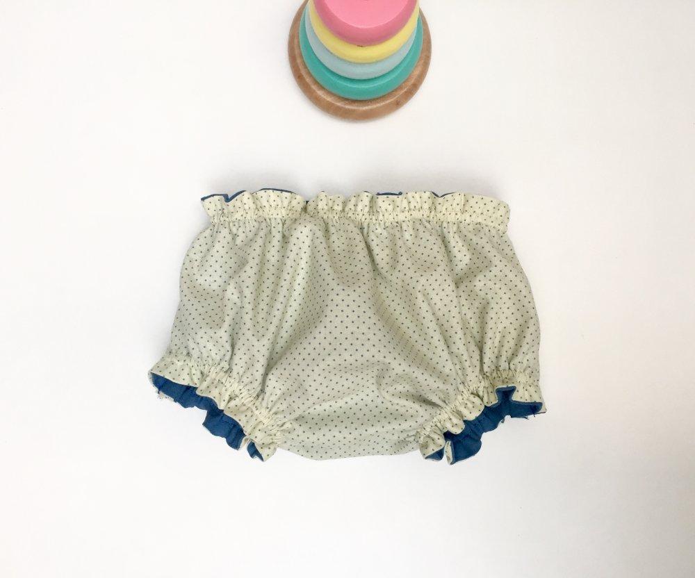 """Bloomer bébé doublé en tissu de coton uni bleu, en jaune pâle à pois bleus, modèle """"DENIM"""""""