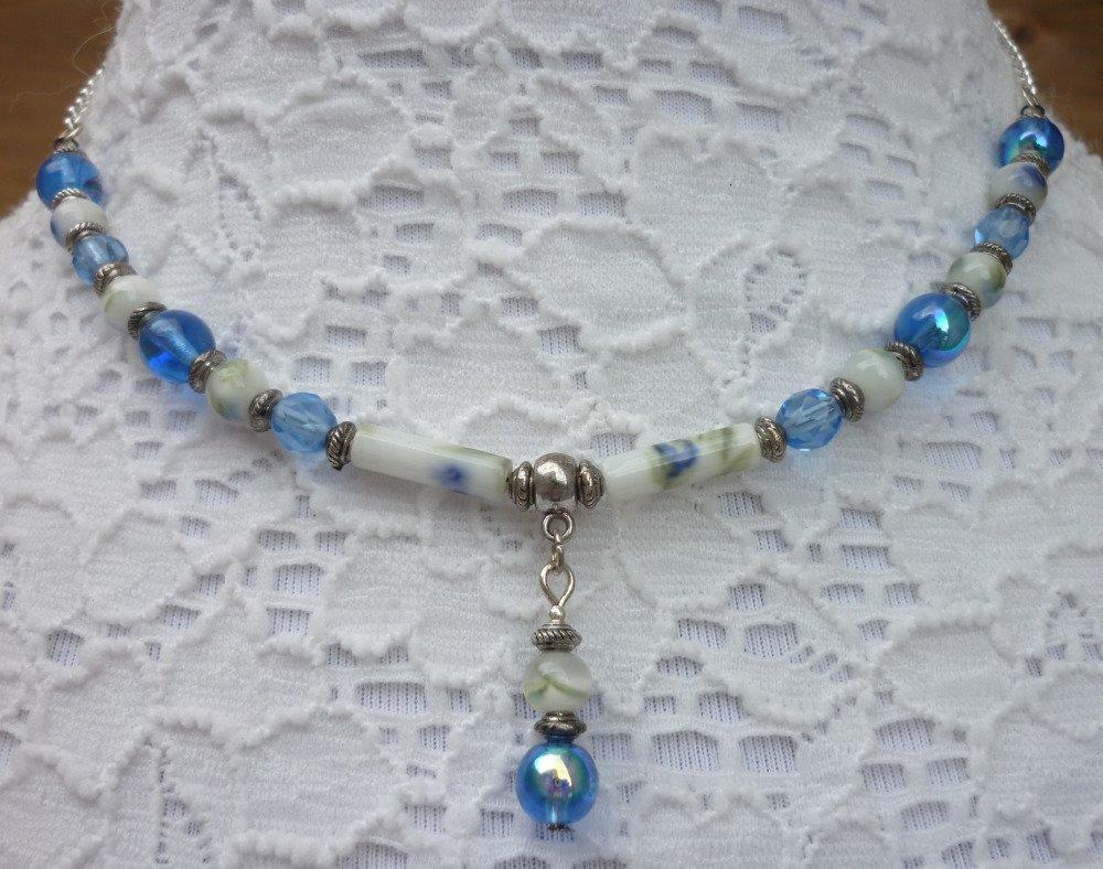 Collier bleu argent petit pendentif