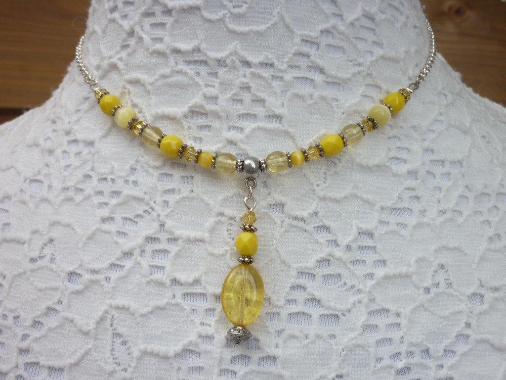 Collier jaune argent petit pendentif