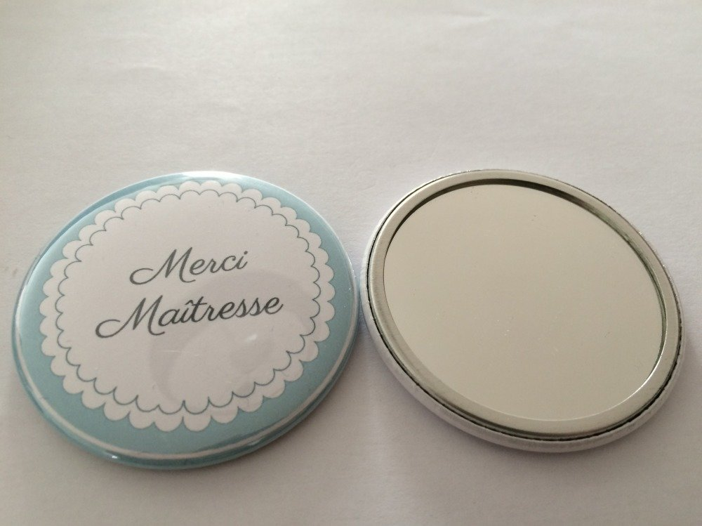 "Miroir de poche Maitresse - ""Merci maîtresse"""