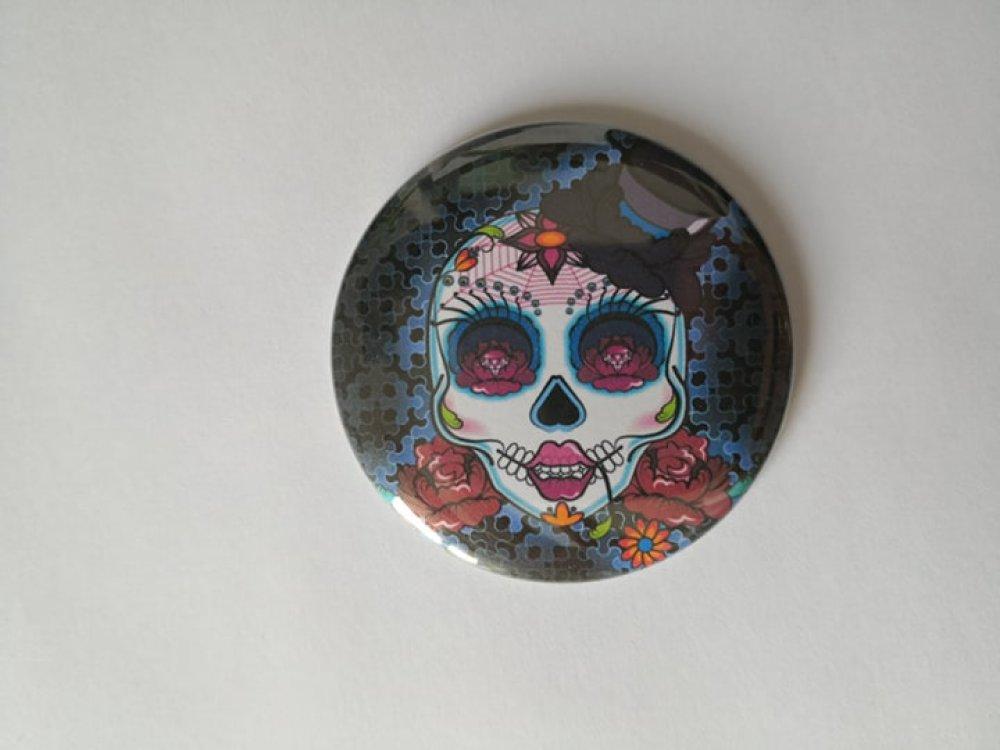 Miroir de poche - Tête de mort mexicaine