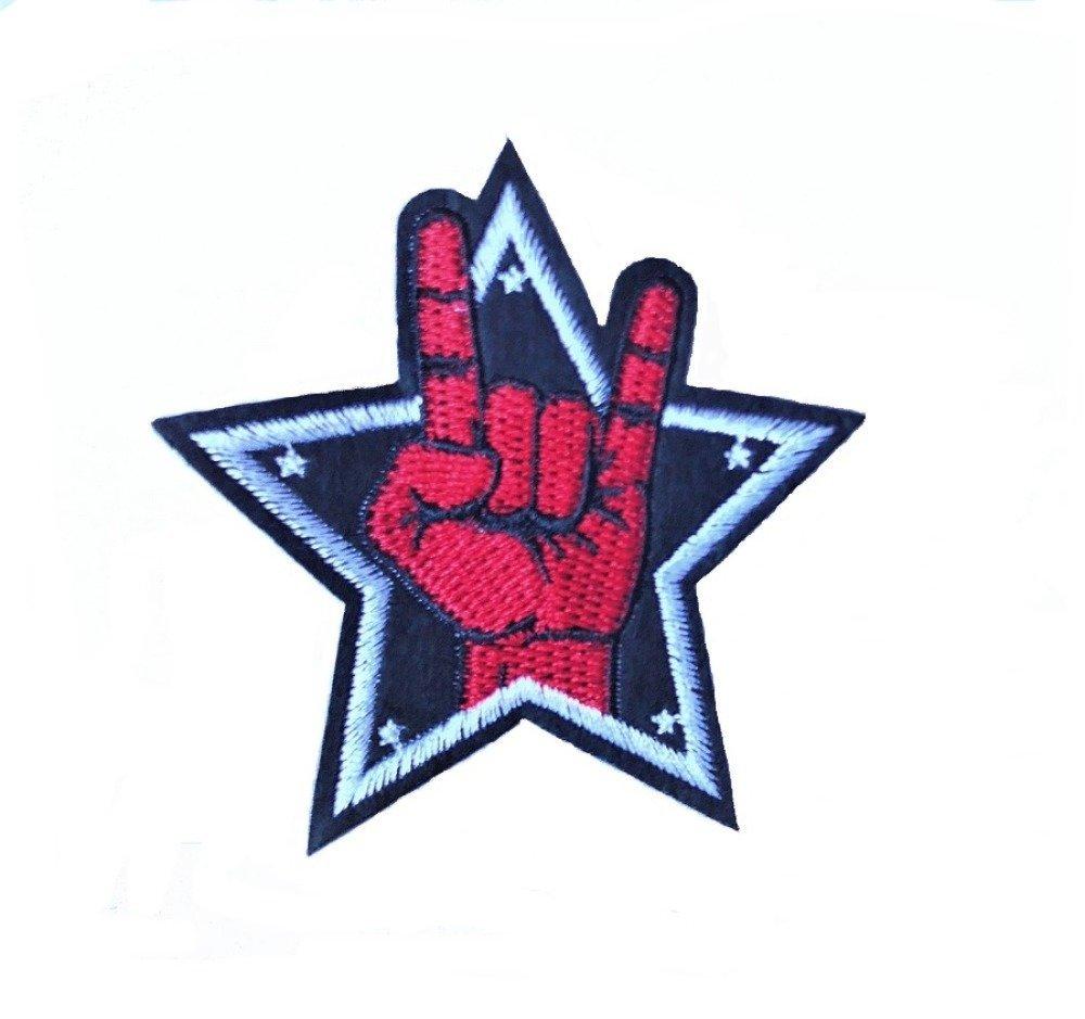 Ecusson étoile main corne du diable, musique hard rock patch brodé thermocollant 8 cm D.IY