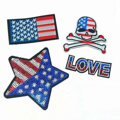 Pack de 4 patchs usa, drapeau américain, patchs à sequins, étoile, love, usa,