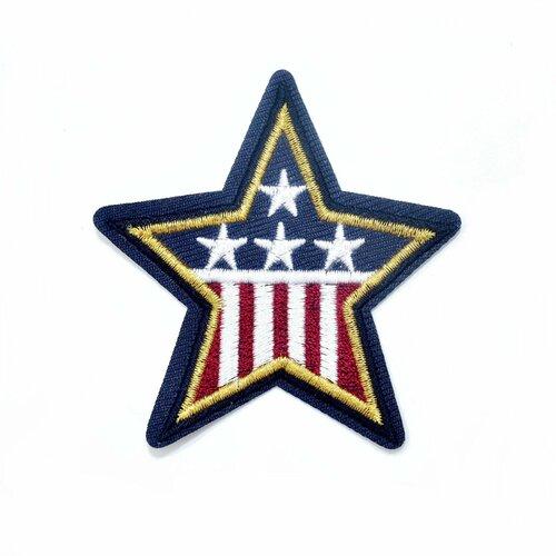 Ecusson brodé drapeau usa, patch étoile, drapeau usa, écusson thermocollant étoile pour customisation , 7 cm