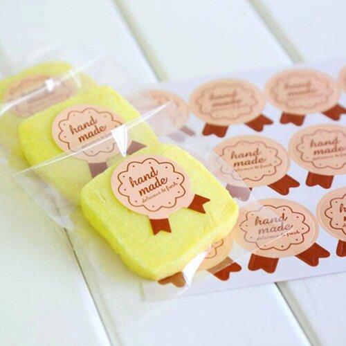 56 étiquettes, handmade marron, stickers adhésifs, pour vos pâtisseries, confitures.. faites maison bio
