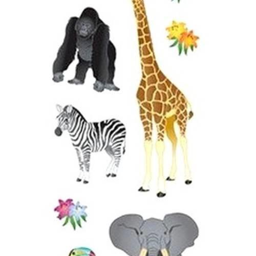 Stickers scintillants animaux de la jungle safari sandylion 16,5 x 5 cm scrapbooking carterie créative