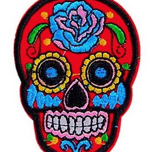 Ecusson Brodé Rouge Tête De Mort Mexicaine Fleur Patch