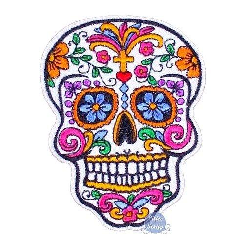 Ecusson Brodé Patch Thermocollant Tête De Mort Mexicaine