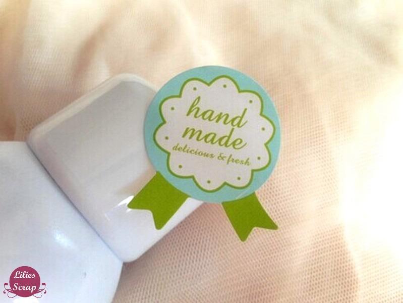 72 étiquettes fait main, Handmade vertes / stickers adhésifs pour vos pâtisseries, confitures, soupes.. faites maison BIO