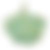Pendentif feuille de gingko en métal couleur bronze finition vert-de-gris 53x45mm