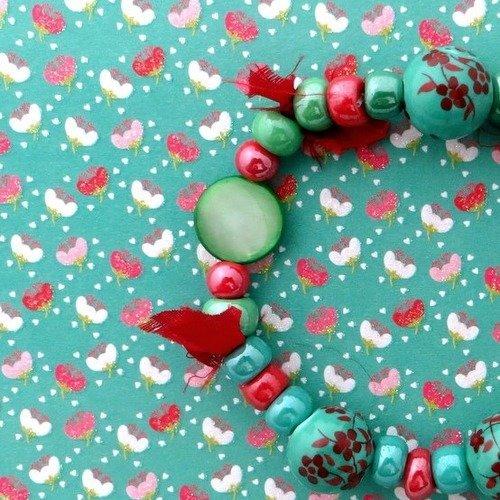 Bracelet bohème vintage, perles japonaises, soie, céramique.