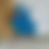 X 1 pendentif, breloque, émaillé bleu, petit lapin 2.4 x 3 cm (réf.-)