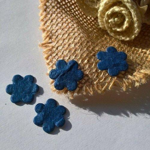 Sachet de 20 petites fleurs en papier mûrier bleu foncé de 1.6 cm (réf.48)