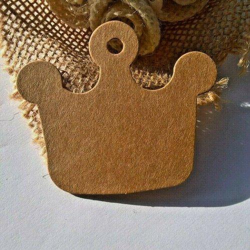 Lot de étiquettes couronne kraft 6 x 5.2 cm, emballage cadeaux, scrap (réf.01)