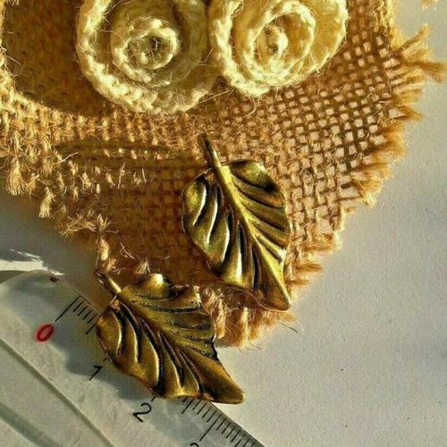 Lot de 6 breloques forme feuille doré et noir, pendentif, 3.2 x 1.8 cm (réf -)