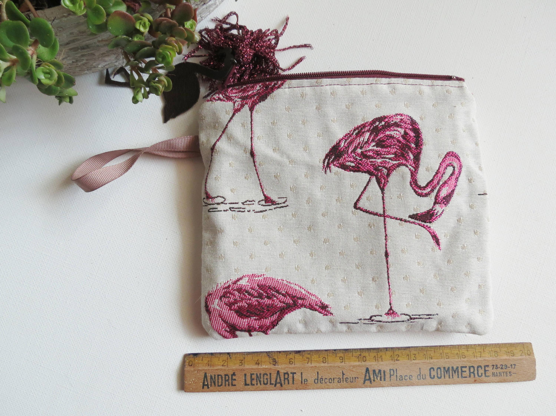 Pochette zipée flamand rose avec pampille, cadeau parfait pour femme chic, hippie chic, bohème, girly, vegan