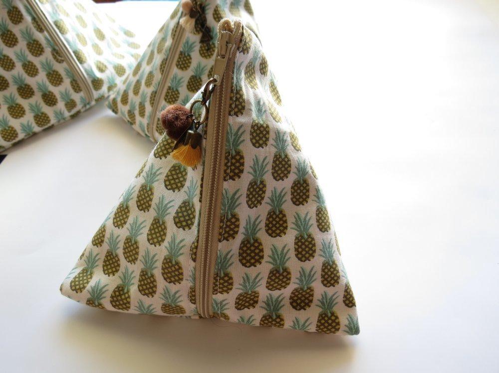 Petite Pochette zippée berlingot imprimé ananas