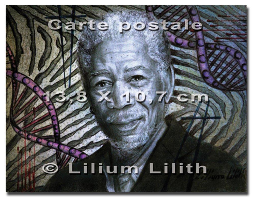 Carte postale. Portrait de Morgan Freeman