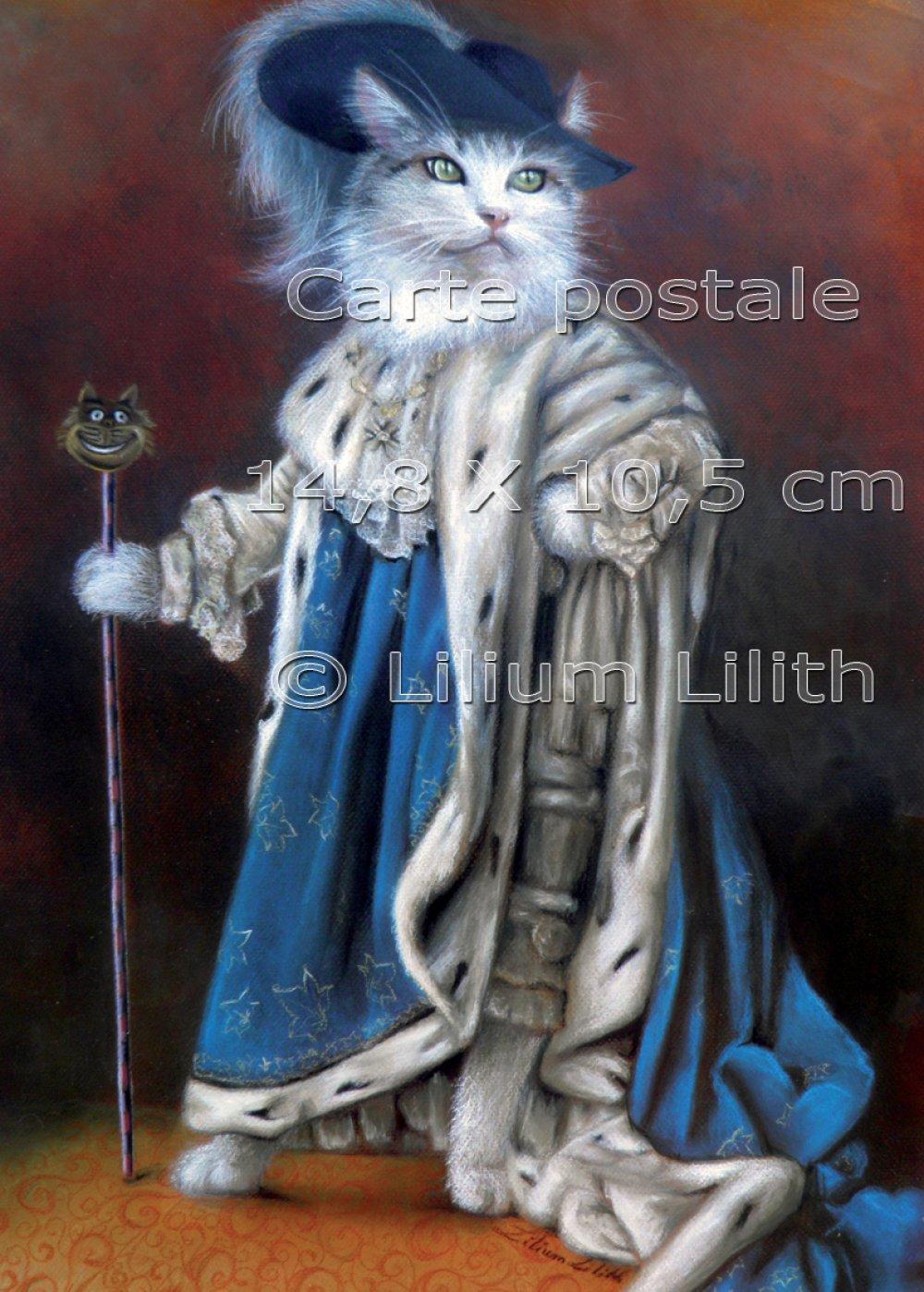 Carte postale. Chat Roi, majesté. Dessin