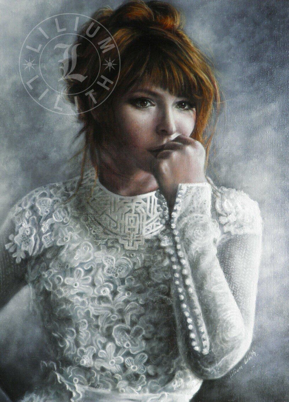 Portrait, Mylène Farmer, peinture à l'huile
