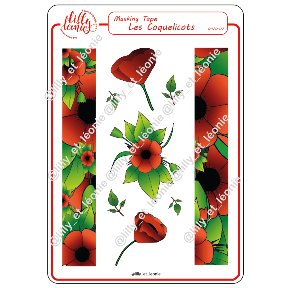 COQUELICOTS ROUGE MASKING TAPE
