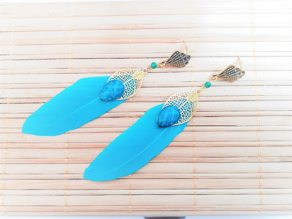 boucles d'oreilles ,pendante ,puces ,bleues,turquoise ,dorées ,plume ,cabochon