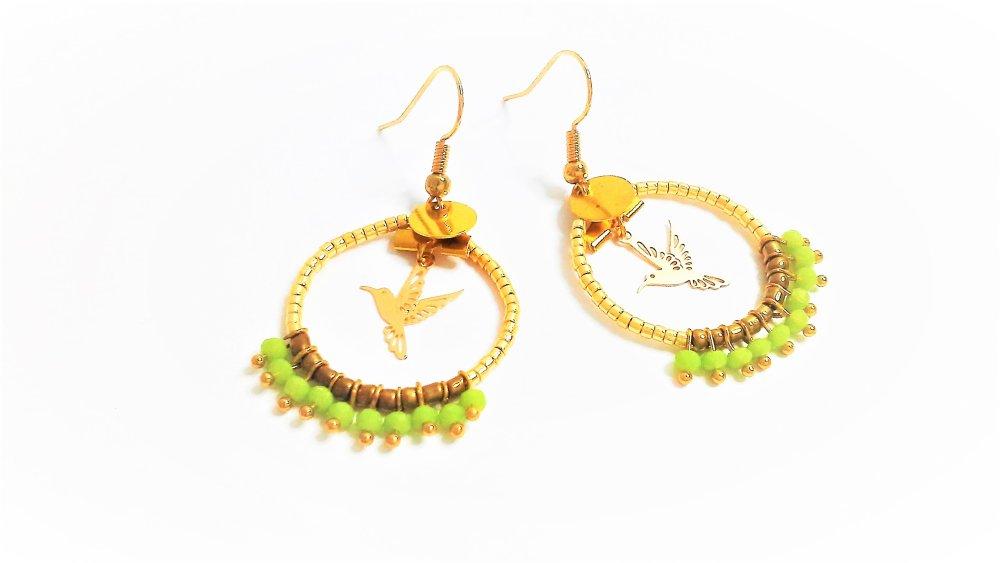 boucles d'oreilles ,créoles ,vertes ,dorées ,bronze,oiseau